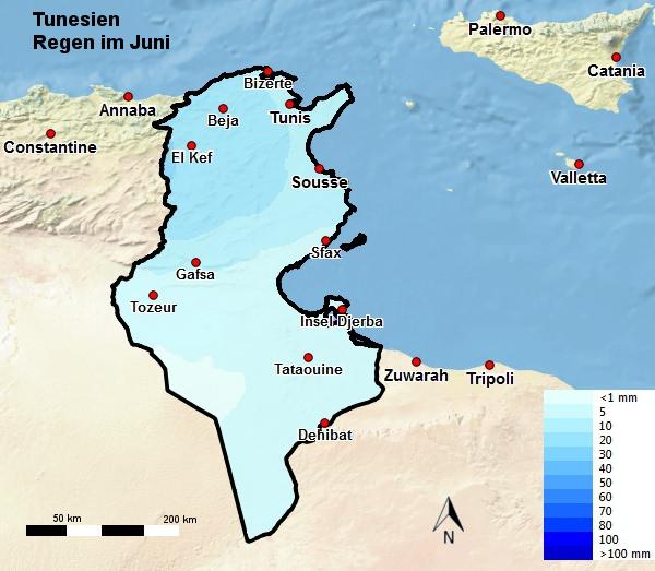 Tunesien Regen Juni