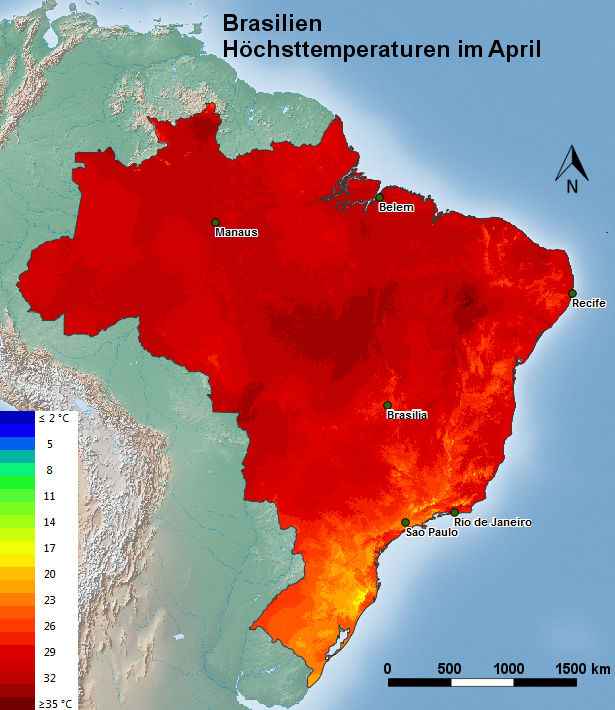 Brasilien Höchsttemperatur April