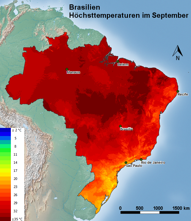 Brasilien Höchsttemperatur September