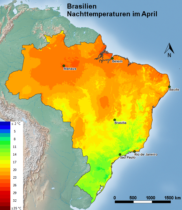 Brasilien Nachttemperatur im April