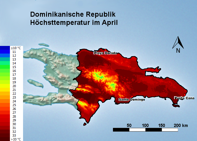 Dominikanische Republik Höchsttstemperatur April