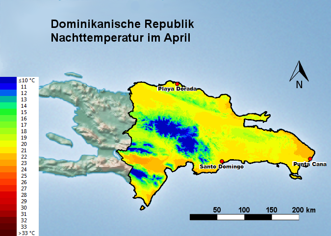 Dominikanische Republik Nachttemperatur April