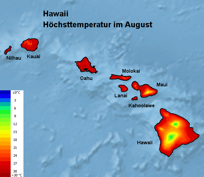 Hawaii Höchsttstemperatur August
