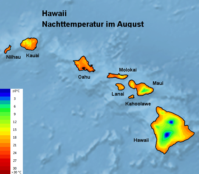 Hawaii Nachttemperatur August