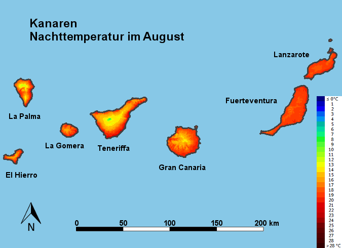 Kanaren Nachttemperatur August