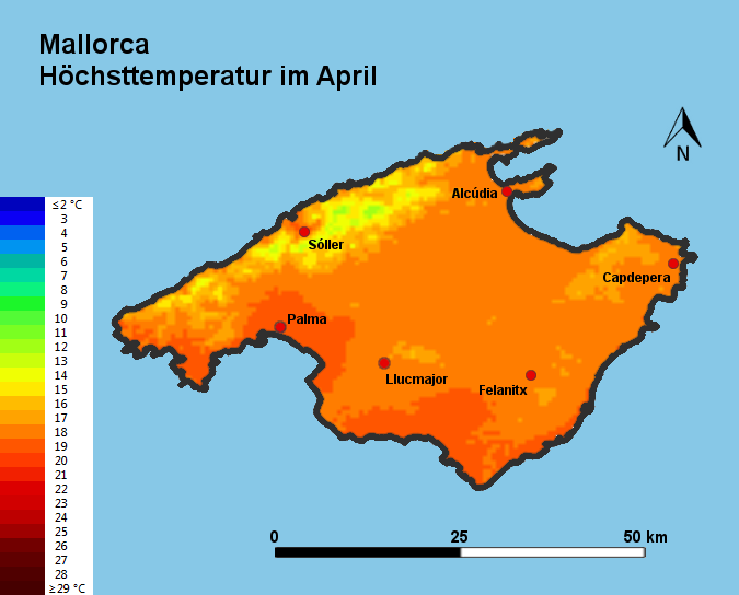 Mallorca Höchsttstemperatur April