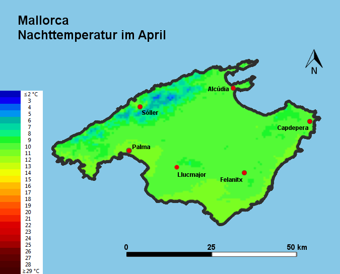 Mallorca Nachttemperatur April