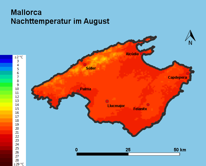 Mallorca Nachttemperatur August