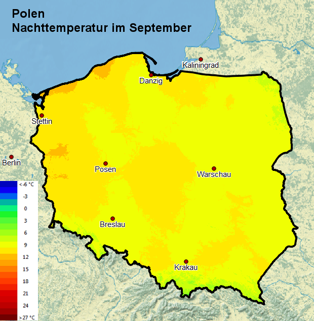Polen Nachttemperatur September