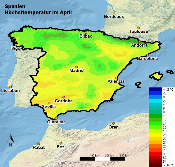 Spanien Höchsttemperatur April