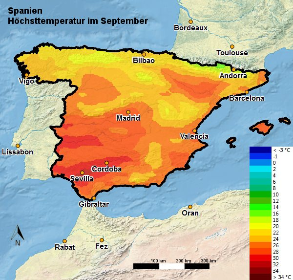 Spanien Höchsttemperatur September