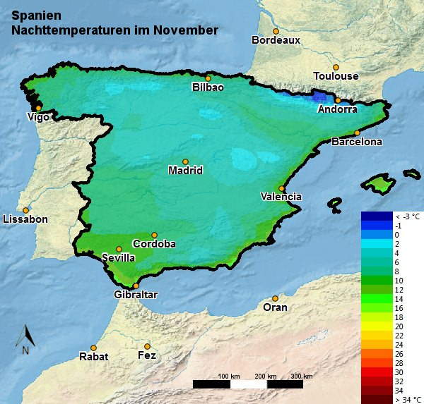 Spanien Nachttemperatur November