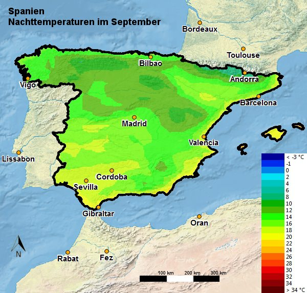 Spanien Nachttemperatur September