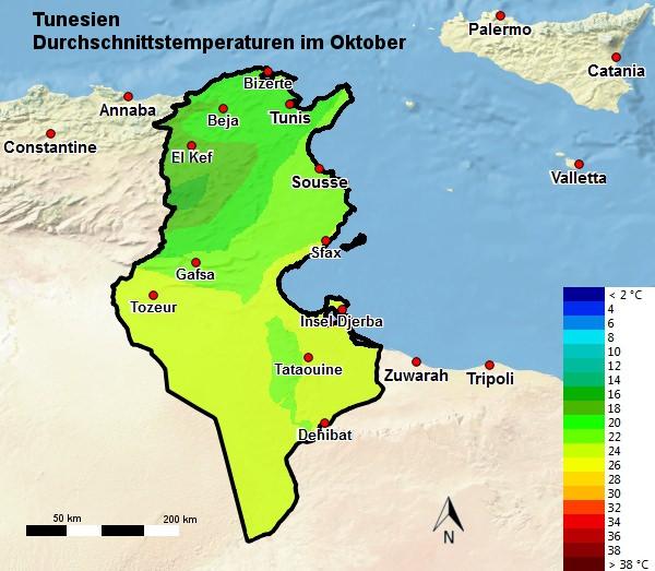 Tunesien Durchschnittstemperatur Oktober
