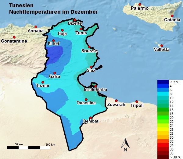 Tunesien Nachttemperatur Dezember